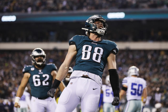 Philadelphia Eagles' Dallas Goedert celebrates after scoring a touchdown during the first half of an NFL football game against the Dallas Cowboys Sunday, Dec. 22, 2019, in Philadelphia. (AP Photo/Michael Perez)