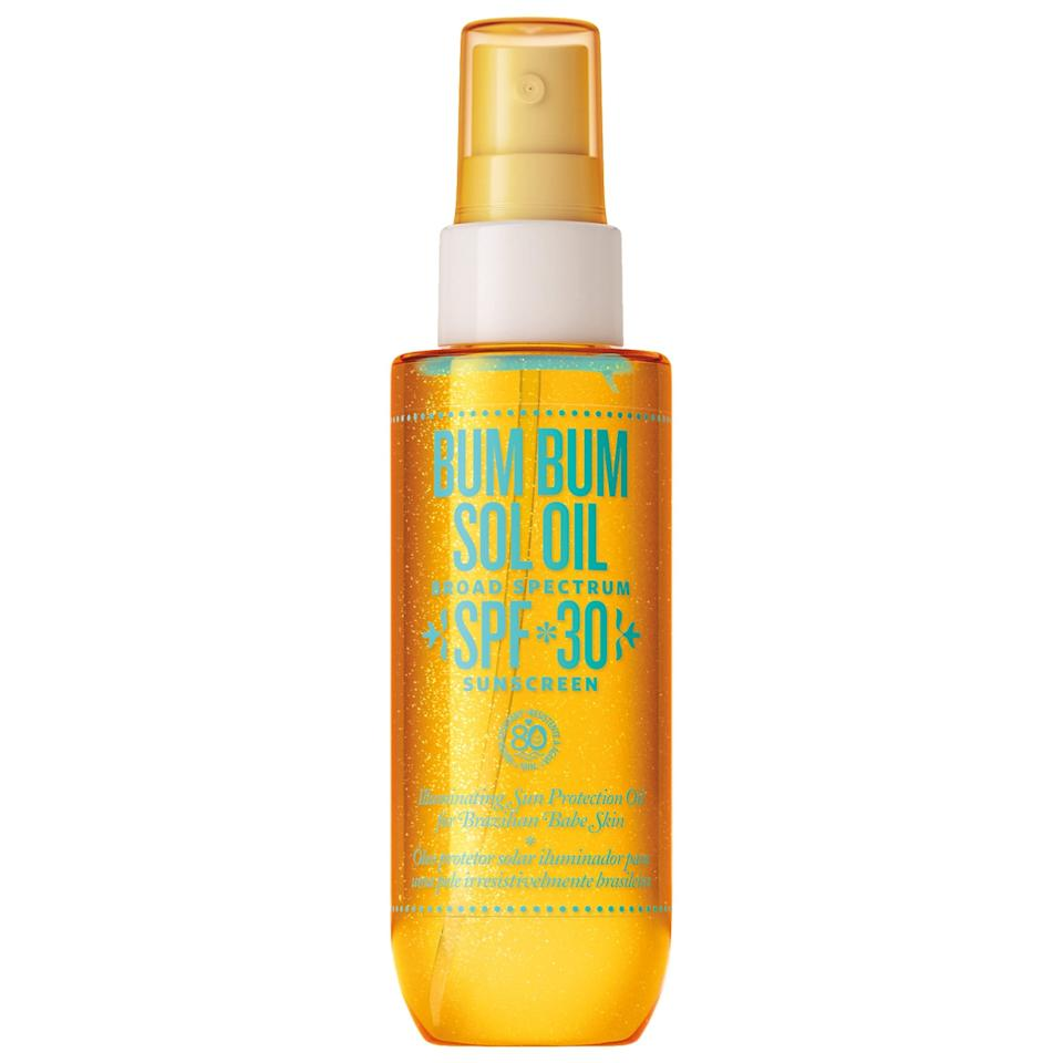 "<p>Head to Ipanema this summer (without hopping on a plane), thanks to the popular <a href=""https://www.popsugar.com/buy/Sol-de-Janeiro-Bum-Bum-Sol-Oil-SPF-30-585767?p_name=Sol%20de%20Janeiro%20Bum%20Bum%20Sol%20Oil%20SPF%2030&retailer=sephora.com&pid=585767&price=38&evar1=bella%3Aus&evar9=43520538&evar98=https%3A%2F%2Fwww.popsugar.com%2Fphoto-gallery%2F43520538%2Fimage%2F47584469%2FSol-de-Janeiro-Bum-Bum-Sol-Oil-SPF-30&list1=sunscreen%2Csummer%20beauty&prop13=api&pdata=1"" rel=""nofollow"" data-shoppable-link=""1"" target=""_blank"" class=""ga-track"" data-ga-category=""Related"" data-ga-label=""https://www.sephora.com/product/bum-bum-sol-oil-spf-30-P442733?icid2=products%20grid:p442733"" data-ga-action=""In-Line Links"">Sol de Janeiro Bum Bum Sol Oil SPF 30</a> ($38). This dry oil packs in açaí, cupuaçu, and coconut to condition skin, but it's the shimmering side effect that really sends this one over the edge.</p>"