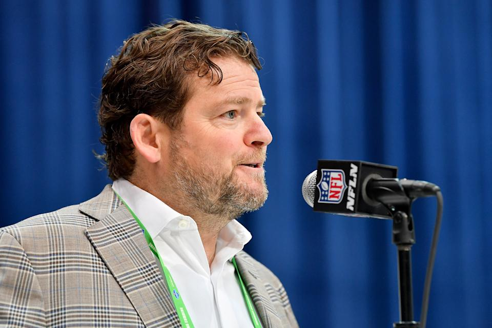 INDIANAPOLIS, INDIANA - FEBRUARY 25: General Manager John Schneider of the Seattle Seahawks interviews during the first day of the NFL Scouting Combine at Lucas Oil Stadium on February 25, 2020 in Indianapolis, Indiana. (Photo by Alika Jenner/Getty Images)