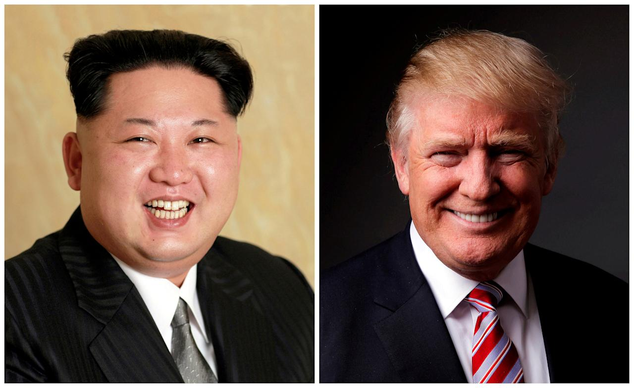 FILE PHOTO - A combination photo shows a Korean Central News Agency (KCNA) handout of Kim Jong Un released on May 10, 2016, and Donald Trump posing for a photo in New York City, U.S., May 17, 2016. REUTERS/KCNA handout via Reuters/File Photo & REUTERS/Lucas Jackson/File Photo ATTENTION EDITORS - THE KCNA IMAGE WAS PROVIDED BY A THIRD PARTY. REUTERS IS UNABLE TO INDEPENDENTLY VERIFY THE IMAGE. NO THIRD PARTY SALES. NOT FOR USE BY REUTERS THIRD PARTY DISTRIBUTORS. SOUTH KOREA OUT.
