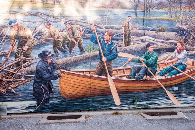 <p>This mural in the Islington Village neighbourhood of Toronto refers to Hurricane Hazel, which struck Toronto on Oct. 15, 1954. The place is a tourist attraction and a landmark related to the foundation of Toronto. (Photo from Roberto Machado Noa/LightRocket via Getty Images) </p>