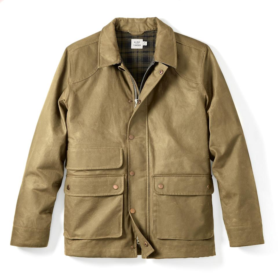 """<p><strong>Flint and Tinder</strong></p><p>huckberry.com</p><p><strong>$298.00</strong></p><p><a href=""""https://go.redirectingat.com?id=74968X1596630&url=https%3A%2F%2Fhuckberry.com%2Fstore%2Fflint-and-tinder%2Fcategory%2Fp%2F63984-flannel-lined-waxed-hudson-jacket&sref=https%3A%2F%2Fwww.esquire.com%2Fstyle%2Fadvice%2Fg2995%2Fbest-fall-coats-jackets%2F"""" rel=""""nofollow noopener"""" target=""""_blank"""" data-ylk=""""slk:Shop Now"""" class=""""link rapid-noclick-resp"""">Shop Now</a></p><p>The field jacket riffs on an iconic military silhouette with functional details galore, including more than enough pockets. Flint and Tinder's waxed, flannel-lined version packs all the punch of the vintage styles that inspired it. </p>"""