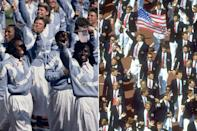 <p>In 1988, female members of Team USA looked like they were all headed to a sock hop after the games were through: They wore powder blue and white sweaters with white skirts and a tiny red ribbon around their collar. Men had the tried and true uniform of a navy blazer and white pants. </p>
