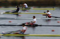 British rowers compete during the GB Rowing Team Senior Trials at the Olympic rowing venue in Eton-Dorney near London March 11, 2012. REUTERS/Stefan Wermuth