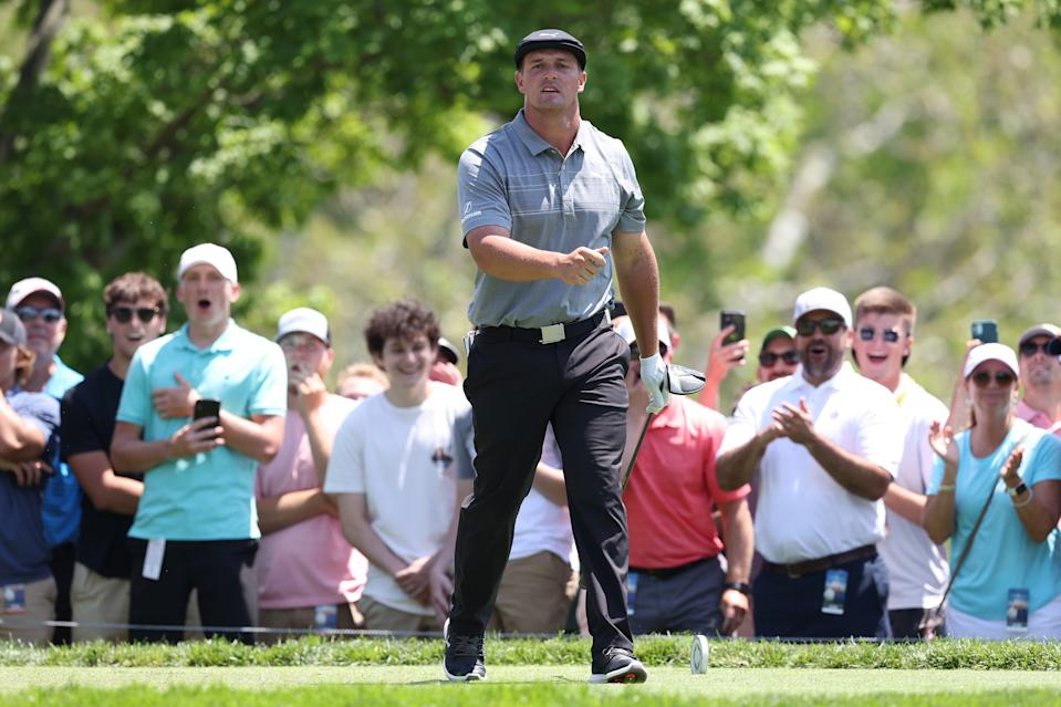 Bryson DeChambeau of the United States walks off the fifth tee during the third round of The Memorial Tournament
