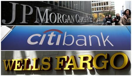 FILE PHOTOS: A combination photo of signs of JP Morgan Chase Bank, Citibank and Wells Fargo & Co. bank