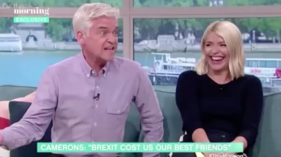 Phil and Holly saw the funny side of Cameron's flub. (ITV)