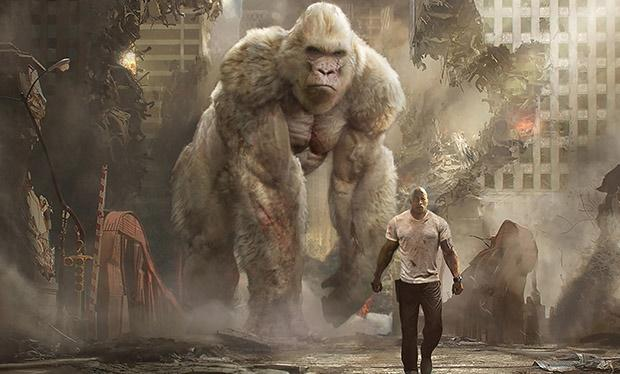 Dwayne Johnson in a scene from the movie Rampage.
