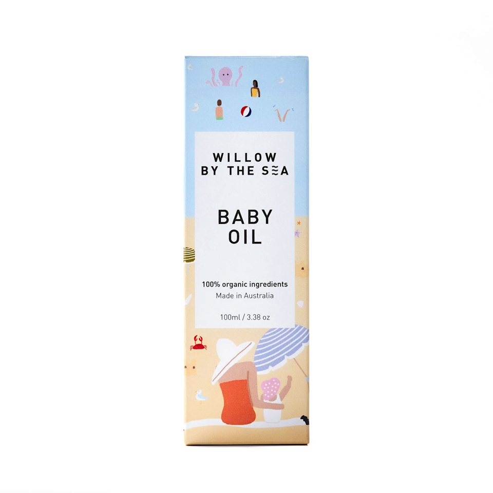 """I was gifted this baby oil when I was pregnant, but it smelled so good, I ended up applying it to my growing belly! It's made with 100% organic ingredients and is so gentle on the skin. <em>—E.P.</em> $34, Willow by the Sea. <a href=""""https://willowbythesea.com/products/baby-oil"""" rel=""""nofollow noopener"""" target=""""_blank"""" data-ylk=""""slk:Get it now!"""" class=""""link rapid-noclick-resp"""">Get it now!</a>"""