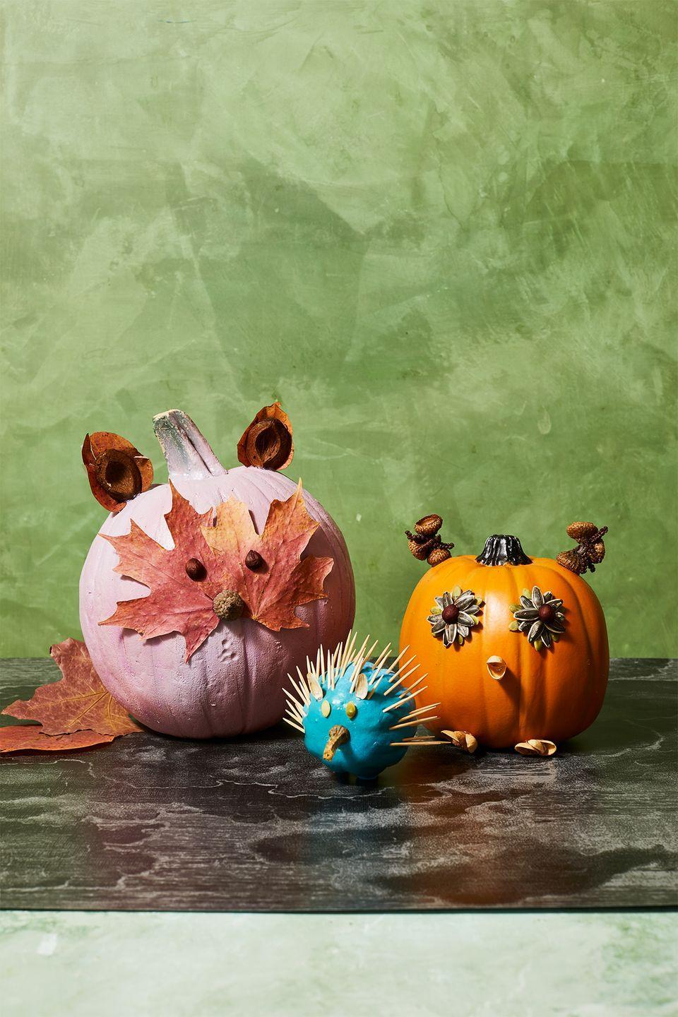 <p>Say <em>hello</em> to our little friends! Gather acorns, sunflower seeds, dried leaves, toothpicks, and some nuts. Then, hot glue 'em on your pumpkins to create each of these adorable animals. </p>