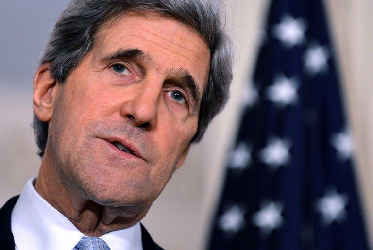 US Secretary of State John Kerry answers a question at the State Department in Washington, DC, on February 8, 2013