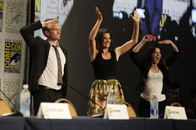 "Neil Patrick Harris, Cobie Smulders, and Alyson Hannigan during the ""How I Met Your Mother"" Panel at Comic-Con 2013, held in San Diego, Ca."