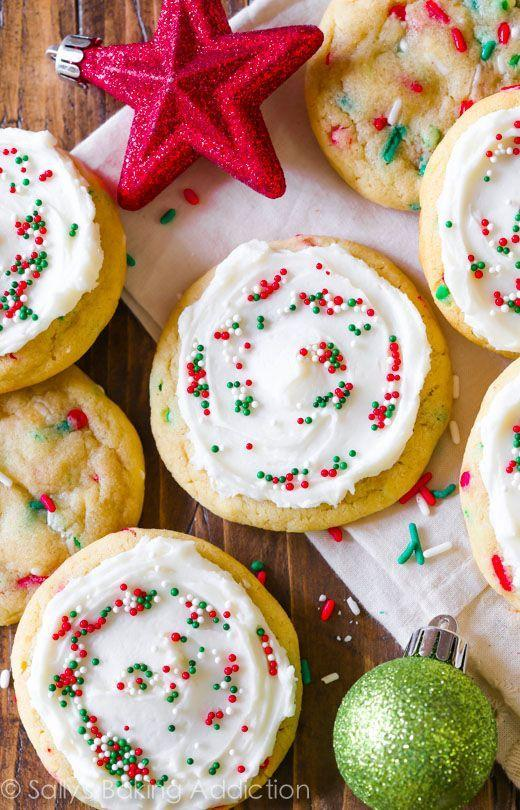 "<p>Be extra festive—bake your cookies with sprinkles <em>and</em> frosting.</p><p>Get the recipe from <a href=""http://sallysbakingaddiction.com/2014/12/16/christmas-funfetti-cookies-supreme/"" rel=""nofollow noopener"" target=""_blank"" data-ylk=""slk:Sally's Baking Addiction"" class=""link rapid-noclick-resp"">Sally's Baking Addiction</a>.</p>"