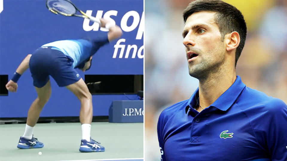Novak Djokovic, pictured here destroying his racquet in the US Open final.
