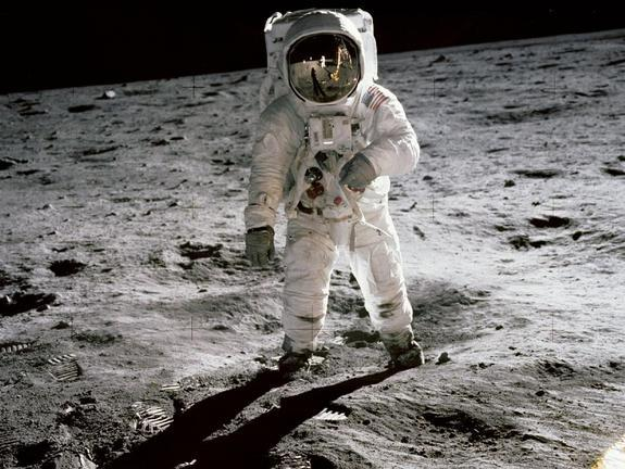 The spacesuits worn by Apollo astronauts such as Buzz Aldrin were designed to optimize life support, not mobility. Newly designed suits may allow future moonwalkers to move faster on the lunar surface.