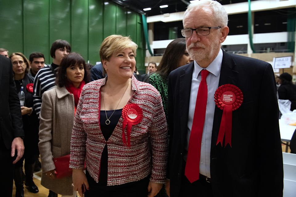 LONDON, ENGLAND - DECEMBER 13: Labour Party leader Jeremy Corbyn (R) and Shadow Foreign Secretary Emily Thornberry meet after both retaining their Parliamentary seats following the count at Sobell leisure centre on December 13, 2019 in London, England. Labour leader Jeremy Corbyn has held the Islington North seat since 1983. The current Conservative Prime Minister Boris Johnson called the first UK winter election for nearly a century in an attempt to gain a working majority to break the parliamentary deadlock over Brexit. The election results from across the country are being counted overnight and an overall result is expected in the early hours of Friday morning. (Photo by Leon Neal/Getty Images)