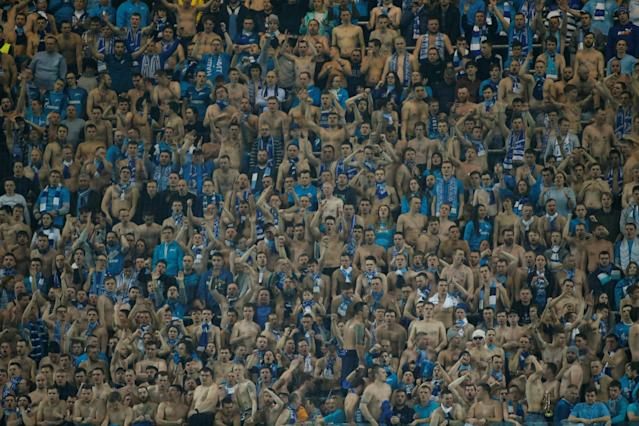 Soccer Football - Europa League Round of 32 Second Leg - Zenit Saint Petersburg vs Celtic - Stadium St. Petersburg, Saint Petersburg, Russia - February 22, 2018 Zenit St. Petersburg fans REUTERS/Maxim Shemetov