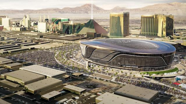 A rendering of the airport-area site for the Raiders' stadium, close to the Strip.