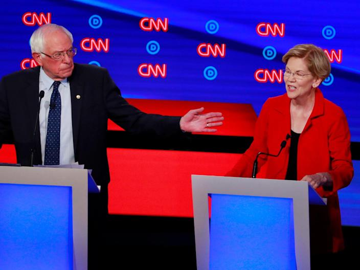 FILE PHOTO: U.S. Senator Bernie Sanders and U.S. Senator Elizabeth Warren speak on the first night of the second 2020 Democratic U.S. presidential debate in Detroit, Michigan, U.S., July 30, 2019. REUTERS/Lucas Jackson