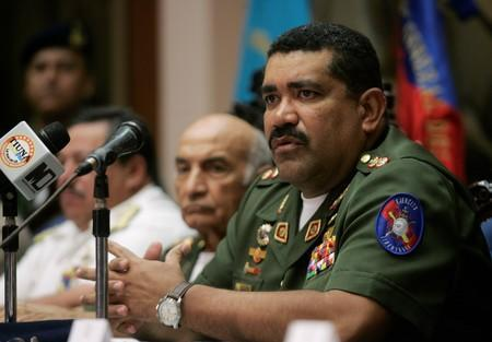 FILE PHOTO: Venezuela's Defense Minister, Commander in Chief Gustavo Rangel Briceno speaks during a news conference in Caracas