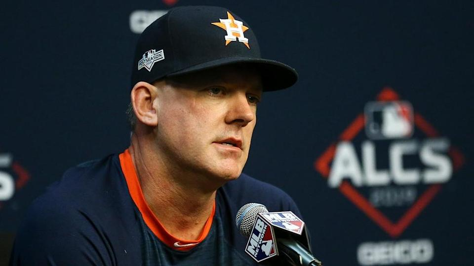 AJ Hinch during 2019 ALCS news conference