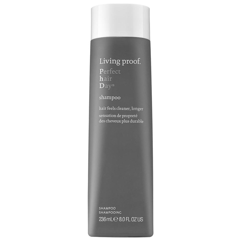 """<p>For polished, protected styles, the <a href=""""https://www.popsugar.com/buy/Living-Proof-Perfect-Hair-Day-Shampoo-578812?p_name=Living%20Proof%20Perfect%20Hair%20Day%20Shampoo&retailer=sephora.com&pid=578812&price=12&evar1=bella%3Aus&evar9=47520410&evar98=https%3A%2F%2Fwww.popsugar.com%2Fbeauty%2Fphoto-gallery%2F47520410%2Fimage%2F47520422%2FLiving-Proof-Perfect-Hair-Day-Shampoo&list1=hair%2Csephora%2Cshampoo%2Cconditioner%2Cbeauty%20shopping%2Cstaying%20home&prop13=mobile&pdata=1"""" class=""""link rapid-noclick-resp"""" rel=""""nofollow noopener"""" target=""""_blank"""" data-ylk=""""slk:Living Proof Perfect Hair Day Shampoo"""">Living Proof Perfect Hair Day Shampoo</a> ($12-$59) cleans hair now, and features the brand's healthy hair molecule that helps repel dirt and oil in the future.</p>"""