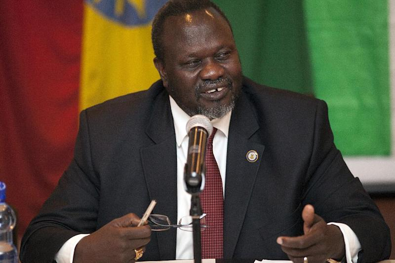 Riek Machar, South Sudanese Rebel Opposition leader, speaks during a press conference in Addis Ababa, Ethiopia, on July 9, 2014 (AFP Photo/Zacharias Abubeker)