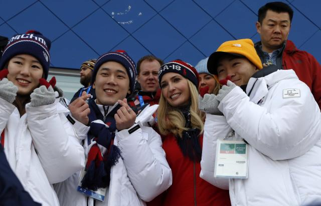 <p>Ivanka Trump, U.S. President Trump's daughter and senior White House adviser, poses with South Korean athletes during the Men's Big Air Finals of the PyeongChang 2018 Winter Olympic Games at the Alpensia Ski Jumping Centre on February 24, 2018 in Gangneung, Pyeongchang, South Korea. (Photo by Eric Gaillard-Pool/Getty Images) </p>