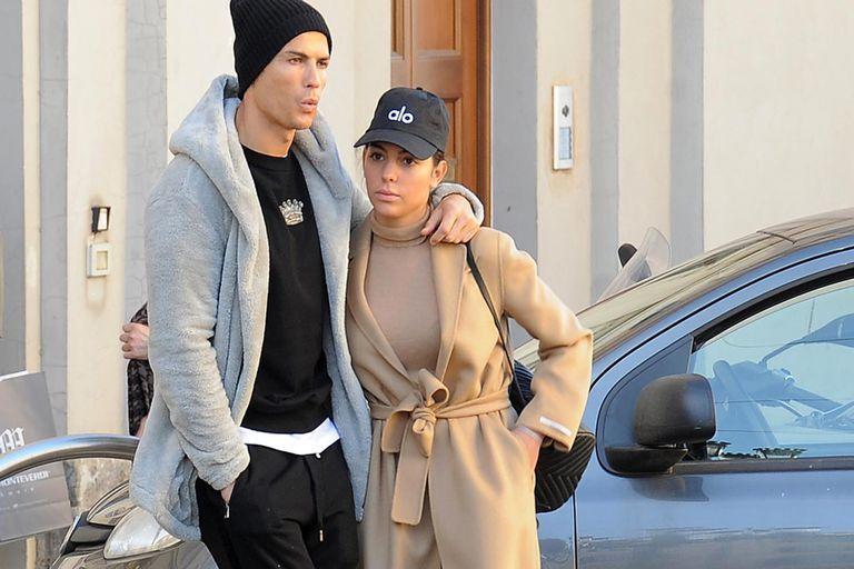 Turin, January 29, 2019. Cristiano Ronaldo and girl friend Georgina Rodriguez seen exiting the church Gran Madre di Dio from a side door. Then, they took a romantic stroll in town.