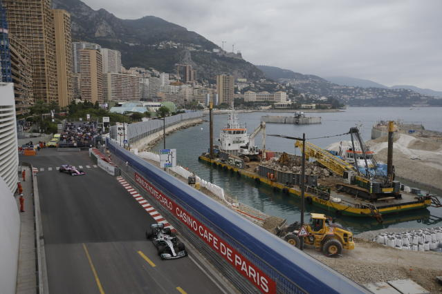 Mercedes driver Lewis Hamilton of Britain steers his car during the first practice session at the Monaco racetrack, in Monaco, Thursday, May 23, 2019. The Formula one race will be held on Sunday. (AP Photo/Luca Bruno)