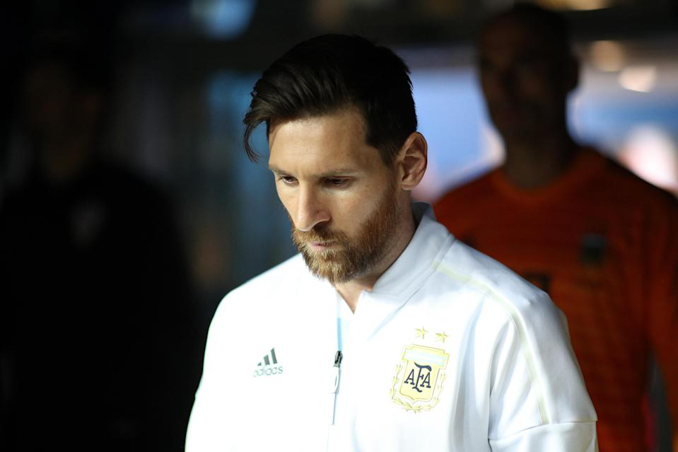 Lionel Messi of Argentina walks out prior to the 2018 FIFA World Cup Russia group D match between Argentina and Croatia at Nizhny NovgorodStadium on June 21, 2018 in Nizhny Novgorod, Russia. (Getty Images)