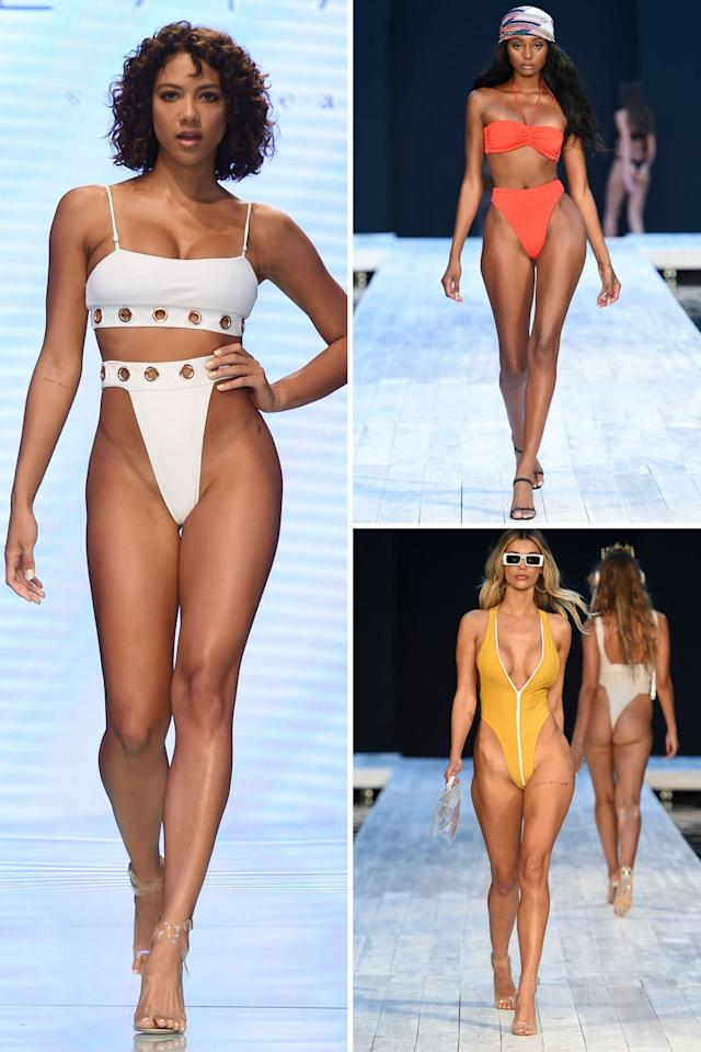 """<p>Ultra-high, '80s-inspired cuts continued to reign as the biggest swimwear trend. The throwback look appeared in both bikini and one-piece forms—with brands like Revival and SageSwim going for even higher, exaggerated versions of the suit. </p><p><em>Clockwise from left: <a href=""""https://www.revivalswim.com/"""" target=""""_blank"""">Revival</a>, <a href=""""https://us.tjswim.com/"""" target=""""_blank"""">TJ Swim</a>, <a href=""""https://sageswm.com/"""" target=""""_blank"""">SageSwim</a></em></p>"""