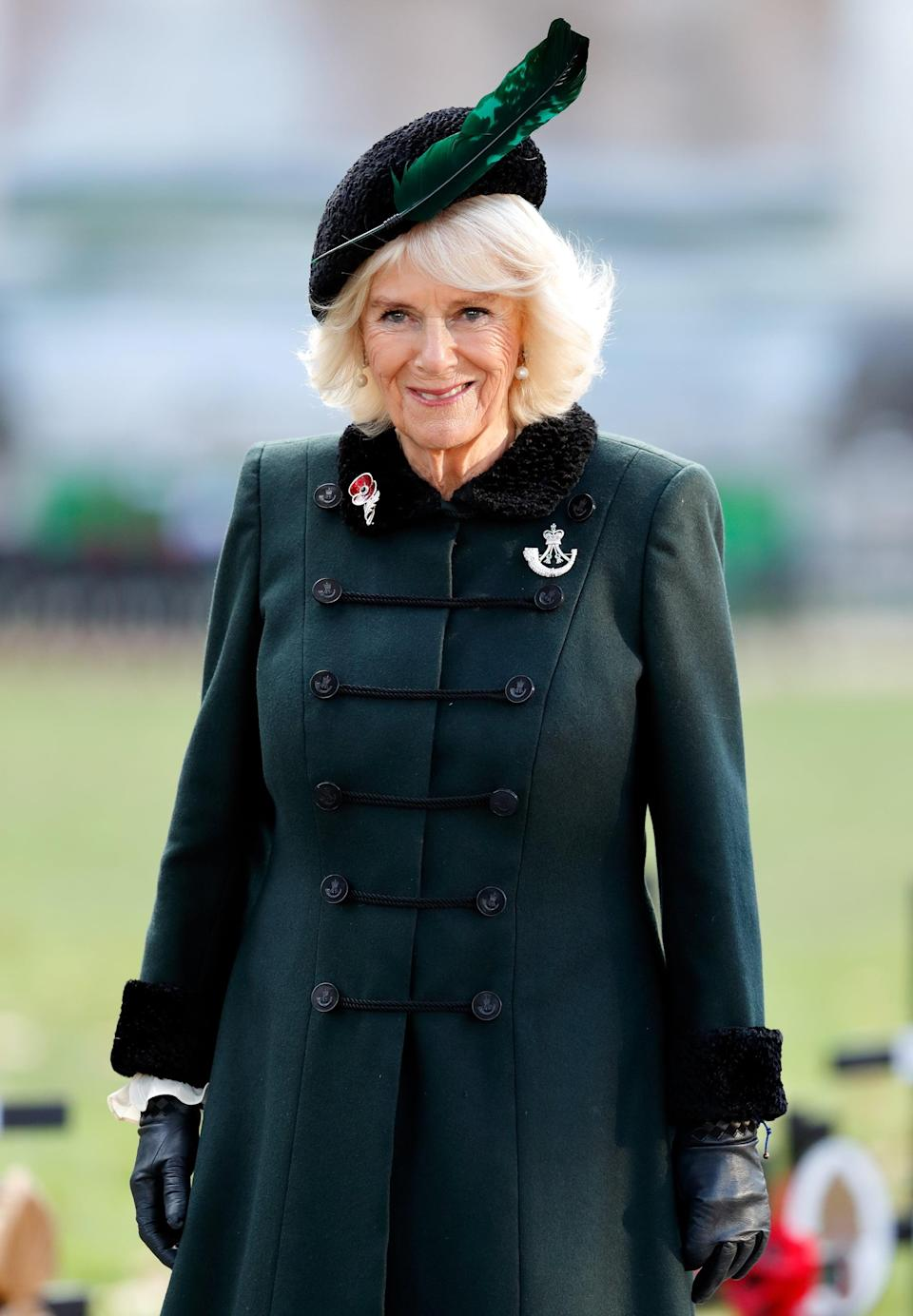 LONDON, UNITED KINGDOM - NOVEMBER 04: (EMBARGOED FOR PUBLICATION IN UK NEWSPAPERS UNTIL 24 HOURS AFTER CREATE DATE AND TIME) Camilla, Duchess of Cornwall (Colonel-in-Chief of The Rifles and Patron of the Poppy Factory) visits the 92nd Field of Remembrance at Westminster Abbey on November 4, 2020 in London, England. The Field of Remembrance has been held in the grounds of Westminster Abbey since November 1928, to commemorate those who have lost their lives in the Armed Forces. (Photo by Max Mumby/Indigo/Getty Images)