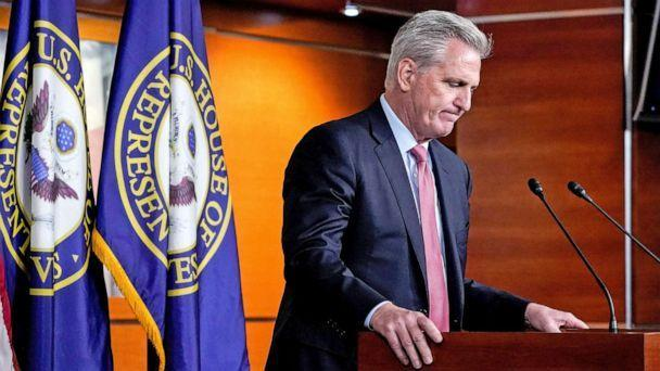 PHOTO: Minority Leader Kevin McCarthy holds a news conference at the U.S. Capitol in Washington, D.C., July 22, 2021.  (Elizabeth Frantz/Reuters)