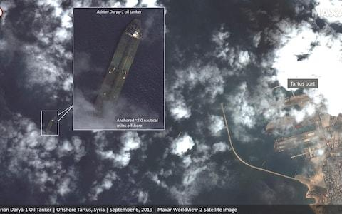 <span>Satellite images shows the tanker Adrian Darya 1 very close to Tartus on September 6</span> <span>Credit: Maxar Technologies </span>