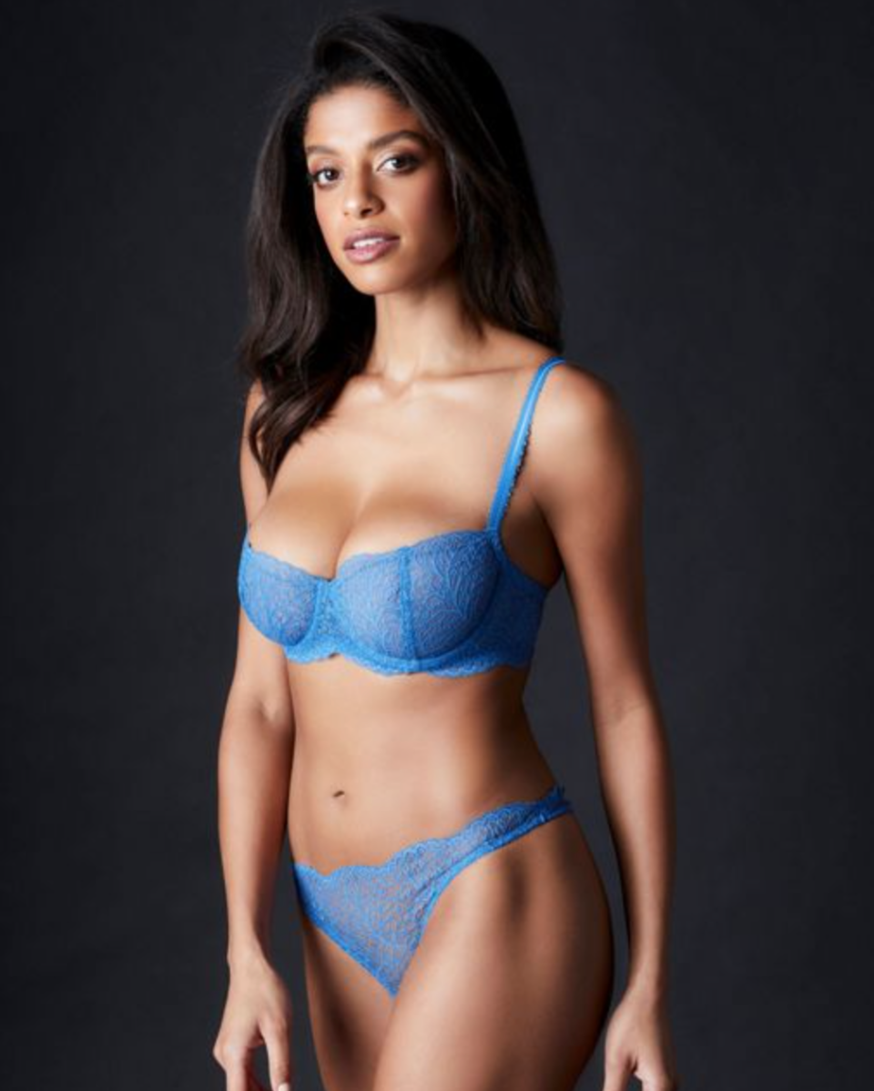 Journelle 'Allegra' Balconette Bra in Forget Me Not (Photo via Journelle)