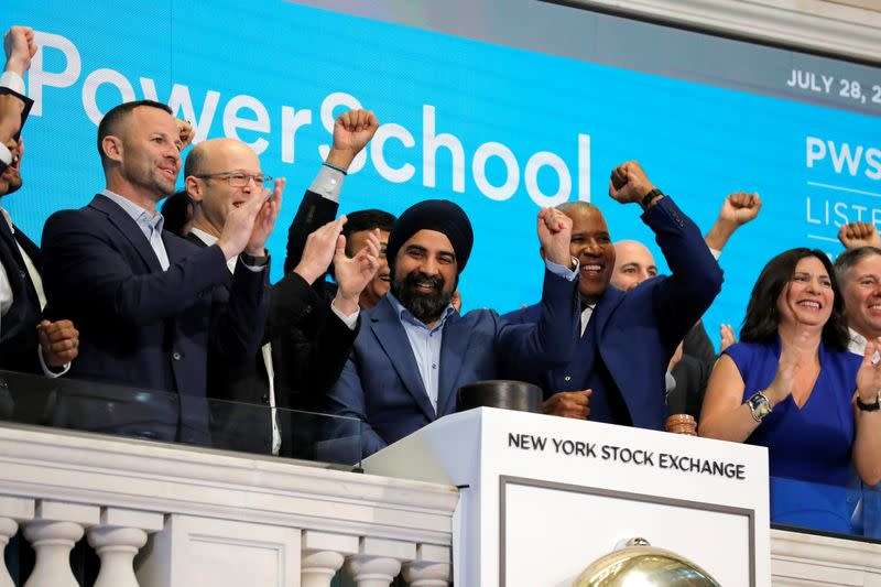 PowerSchool CEO Hardeep Gulati rings the opening bell for their Initial public offering (IPO) the New York Stock Exchange (NYSE) in New York City