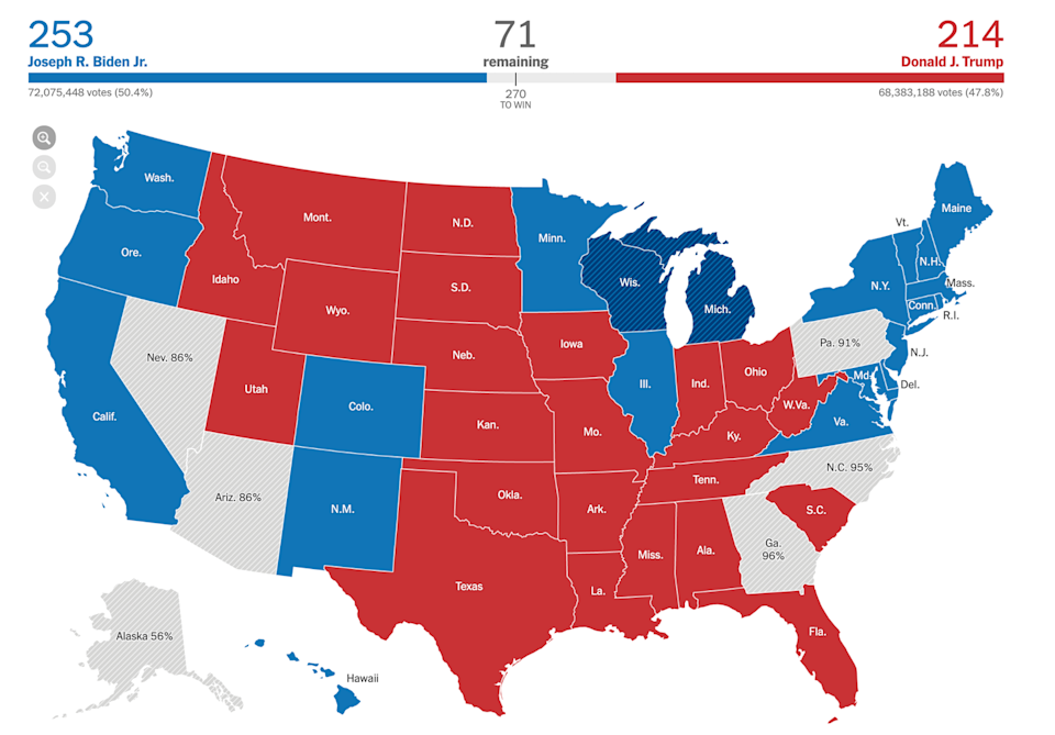 The New York Times map of the U.S. election as of the morning of Nov. 5, 2020