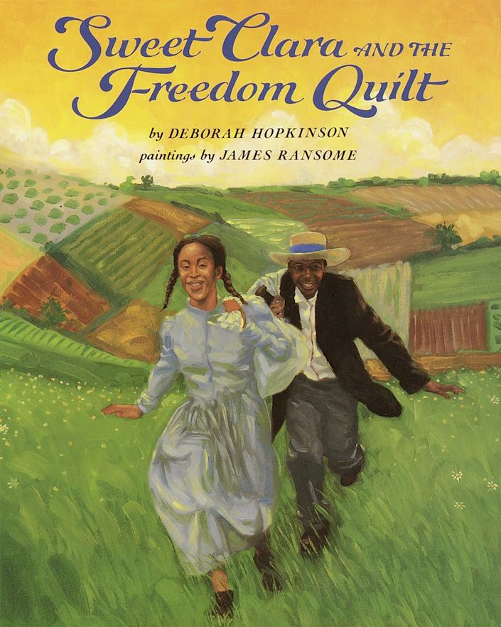 This picture book, written by Deborah Hopkinson and illustrated by James Ransome, tries to present the painful truth about slavery without images that will overly upset young children. It tells the story of a young girl who resourcefully hides a map to freedom in a quilt design.