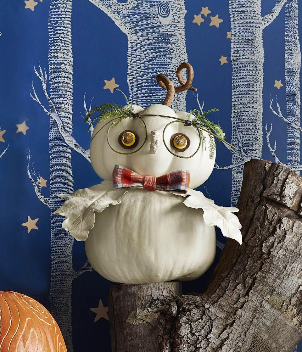 <p>Look to nature for many of the materials needed to craft this wise fella.<strong><br></strong></p><p><strong>Make the pumpkin:</strong> Hot-glue two white (lumina) pumpkins together to create the head and body. For each eye, cut out a small brown felt circle, then glue a slightly smaller yellow button on top, followed by an even smaller brown button. Hot-glue eyes to top pumpkin. Create loops from a thin twig and tie in place with wax twine to create eye-glasses shape. Hot-glue fir sprigs to glasses to create eyebrows. Spray-paint two oak leaves and a baby pinecone a similar color to pumpkin. Hot-glue leaves to pumpkin to create wings and pinecone to create a nose. Make a bow tie from plaid ribbon. Hot-glue to pumpkin.<br></p>