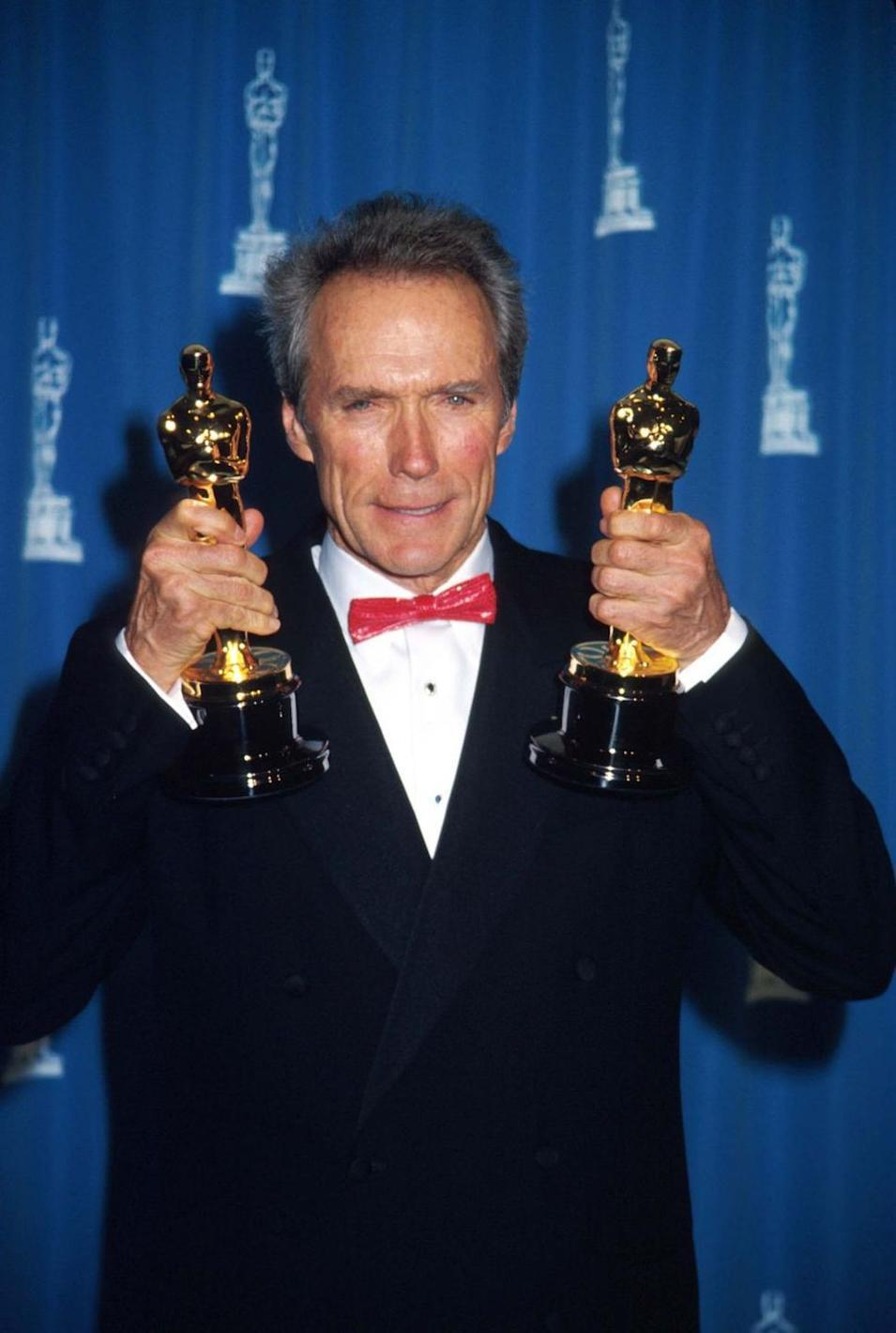 """<p>Once again, Eastwood broke outside of his blockbuster hits to direct and star in <em>Unforgiven</em>. His dramatic performance won the film Best Picture and the actor Best Director at the <a href=""""https://www.britannica.com/biography/Clint-Eastwood/Films-of-the-1990s"""" rel=""""nofollow noopener"""" target=""""_blank"""" data-ylk=""""slk:Academy Awards"""" class=""""link rapid-noclick-resp"""">Academy Awards</a>. </p>"""