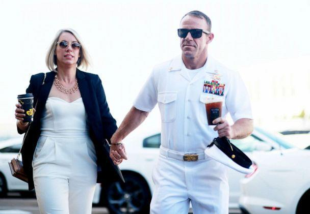 PHOTO: Navy Special Operations Chief Edward Gallagher walks into military court with his wife Andrea Gallagher, July 2, 2019, in San Diego. (Sandy Huffaker/Getty Images)