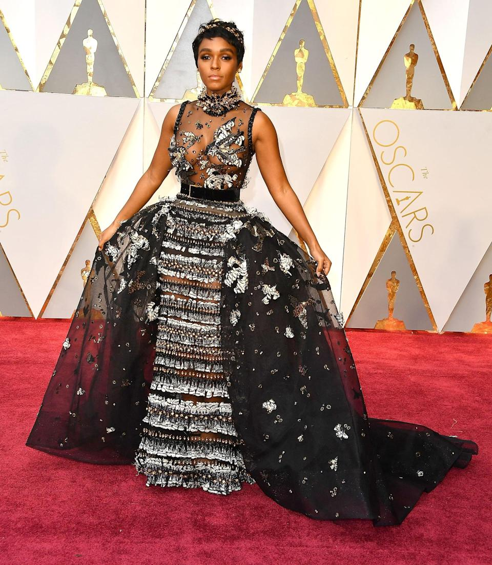 <p>Janelle wore an Elie Saab Haute Couture dress, Jennifer Behr crown, Forevermark jewels, and Brian Atwood shoes.</p>