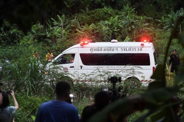PHOTO: An ambulance leaves the Tham Luang cave area after divers evacuated some of the boys among a group of 13 trapped in a flooded cave in Khun Nam Nang Non Forest Park in the Mae Sai district of Chiang Rai province on July 8, 2018 in Thailand. (Lillian Suwanrumpha/AFP/Getty Images)