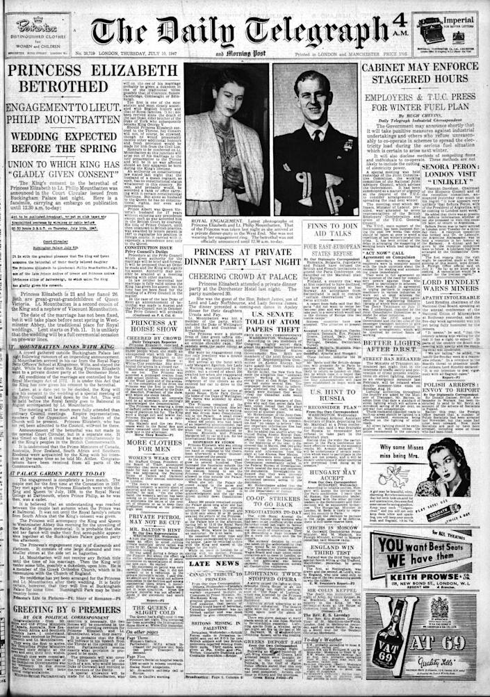 Jul 10, 1947 - The engagement is made public