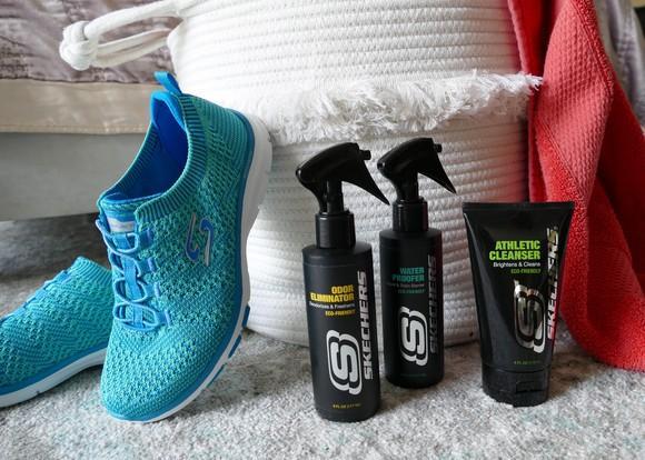 Skechers sneakers and cleaning products