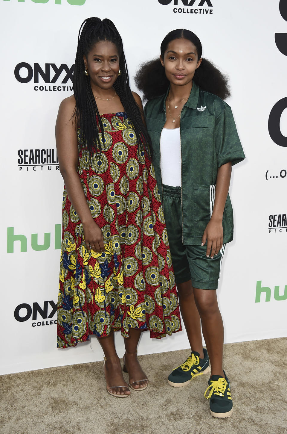 """Tara Duncan and Yara Shahidi arrive at the Los Angeles premiere of """"Summer of Soul"""" at The Greek Theatre on Friday, July 9, 2021. (Photo by Jordan Strauss/Invision/AP) - Credit: Jordan Strauss/Invision/AP"""