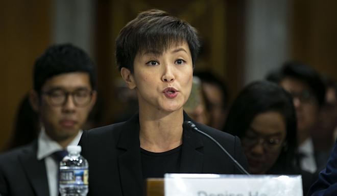 """Denise Ho testifies on Tuesday in support of the Hong Kong Human Rights and Democracy Act. """"This is a plea for the freedom to choose,"""" she said. Photo: Bloomberg"""