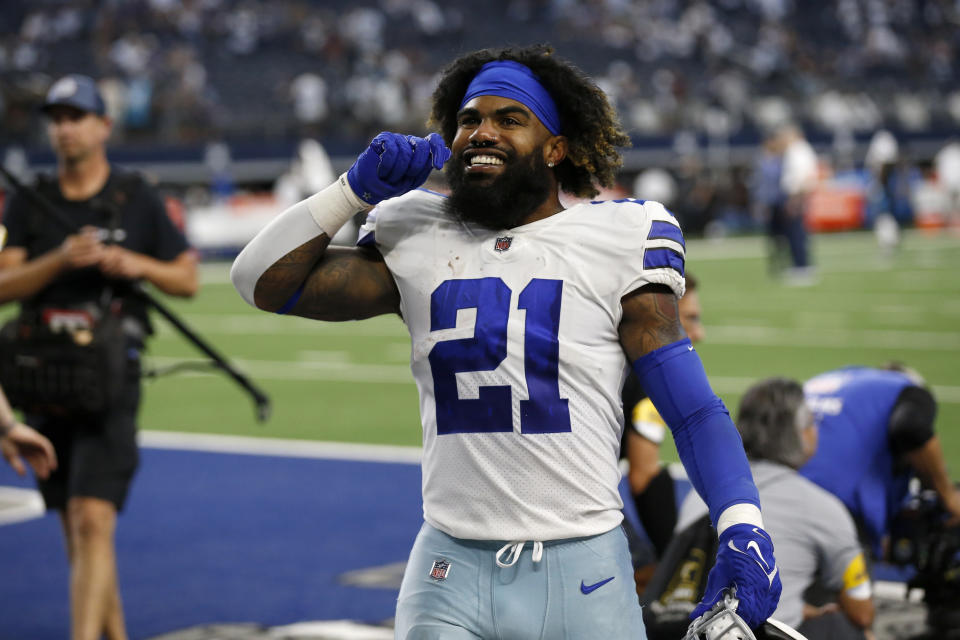 Dallas Cowboys running back Ezekiel Elliott has played better each week this season, and Sunday's performance against the Carolina Panthers looked worthy of his big contract. (AP Photo/Roger Steinman)
