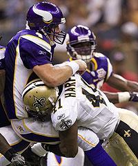 Favre was only sacked once, but the Saints got in their shots
